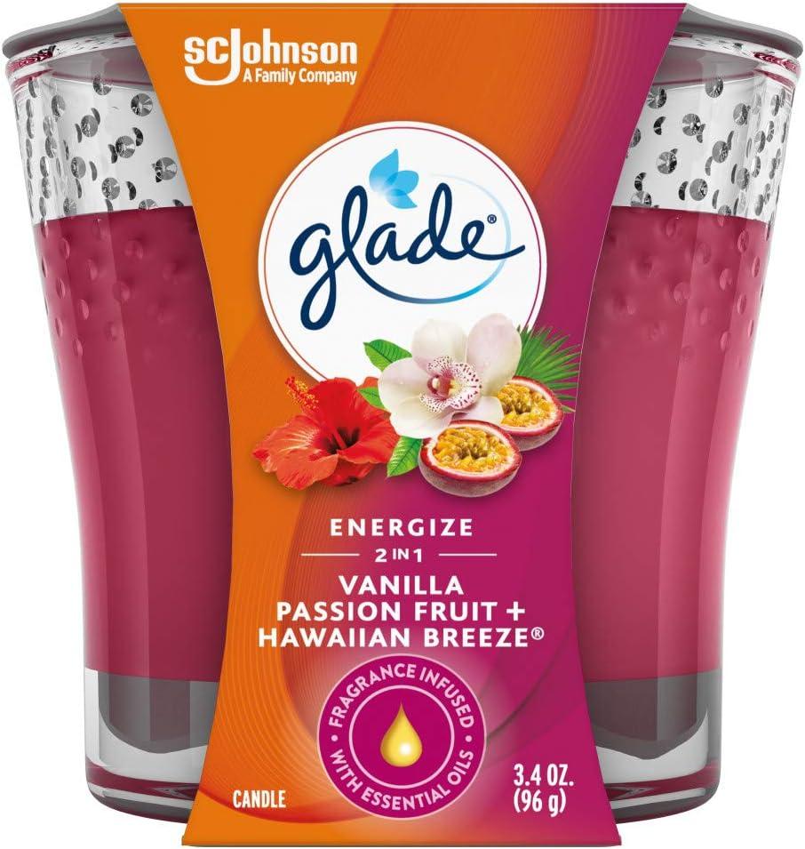 Glade 2in1 Jar Candle Air Freshener, Hawaiian Breeze & Vanilla Passion Fruit, 3.4 oz