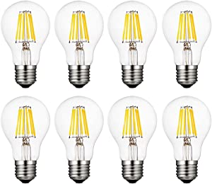 MD Lighting A19 LED Bulbs 60W Equivalent Dimmable, 4000K Daylight Edison Bulbs, 6W Vintage Led Filament Light Bulbs E26 Medium Base Clear Glass Decorative Light for Home, Office, Cafe, 8 Pack