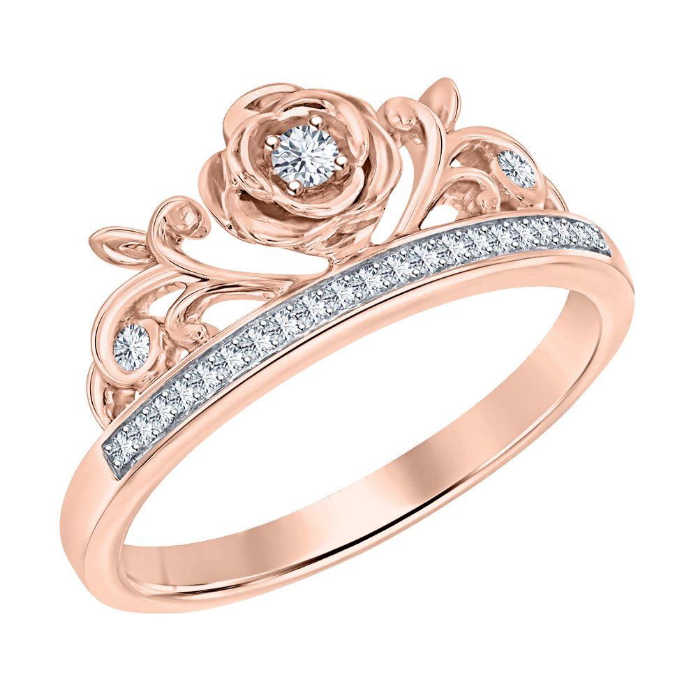 SVC-JEWELS Round Cut White Sapphire 14K Rose Gold Plated Rose Tiara Princess Ring