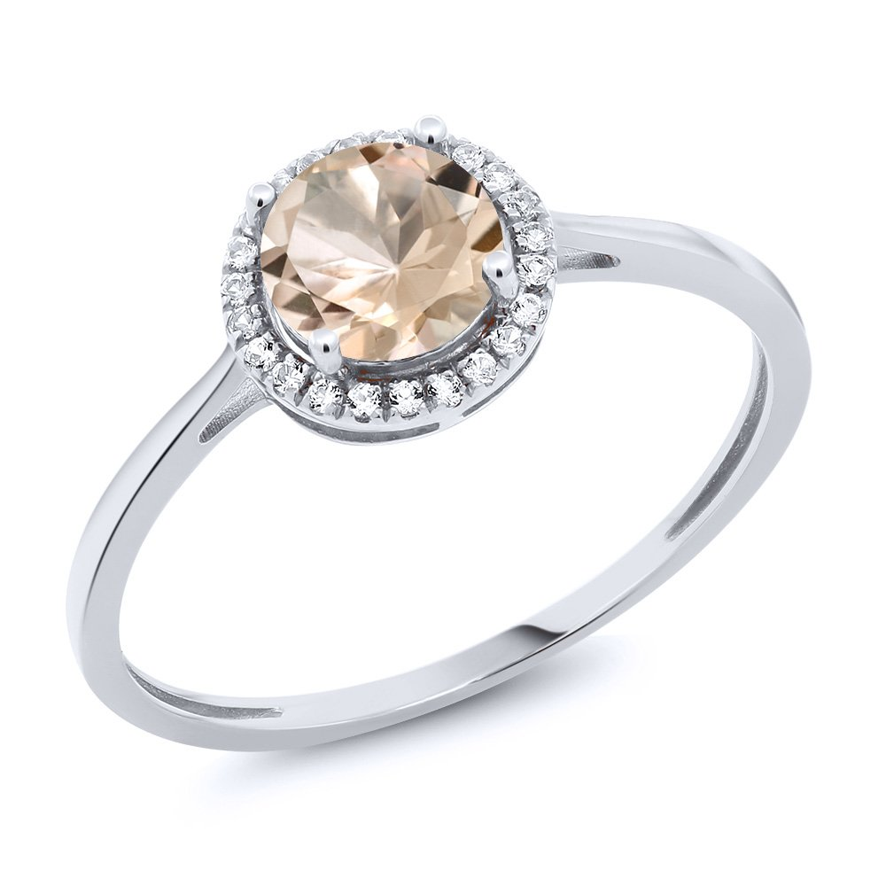 10K White Gold Diamond Engagement Ring Round Peach Morganite (0.82 cttw, Available in size 5, 6, 7, 8, 9)