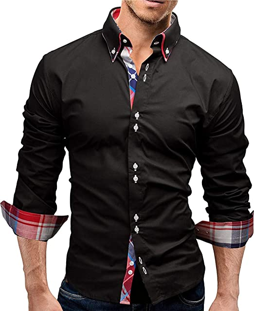 AIEOE Mens Cotton Linen Shirts Casual Banded Collar Button Down Solid Top Shirt