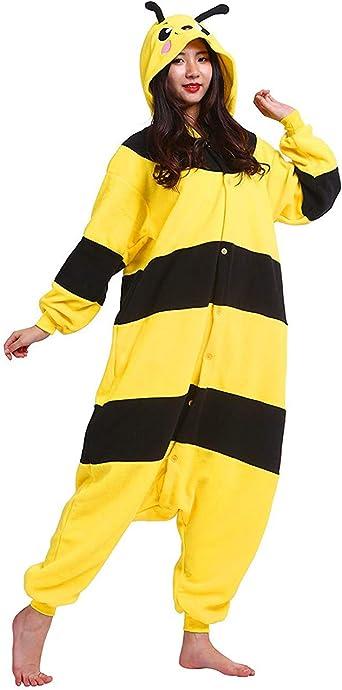 DELEY Unisex Adultos Enterizo de Pijamas Ropa de Dormir Rosa Conejo con Capucha de Cosplay de Anime Carnaval Halloween