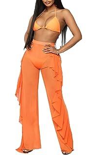 68d092b688 Women Perspective Sheer Mesh Casual Pants Bikini Bottom Cover Up Long  Trousers