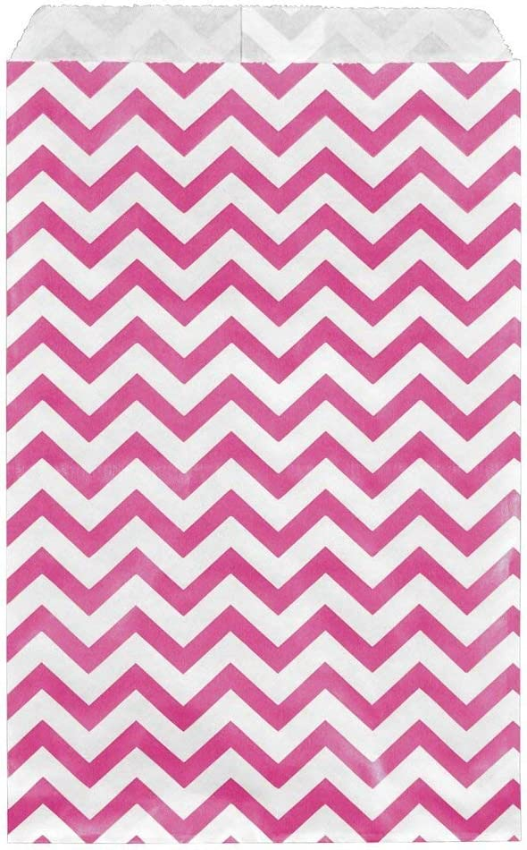 100 Bags Flat Plain Paper or Patterned Bags for Candy, Cookies, Merchandise, pens, Party Favors, Gift Bags (Pink, 5