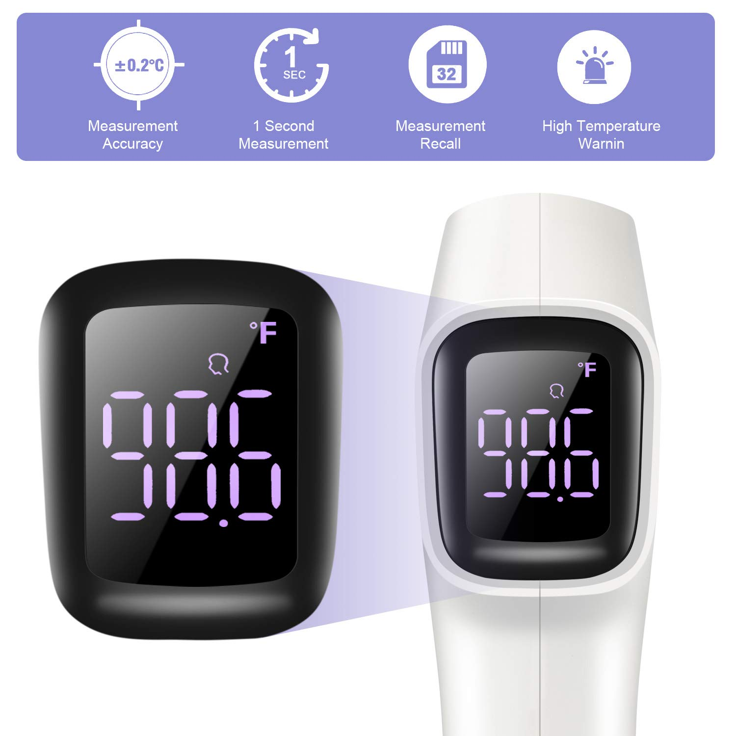 Infrared Thermometer for Adults and Kids Temperature Gun No Touch Forehead Thermometer White Contactless Non Contact Medical Grade Thermometers for Baby Fever Check
