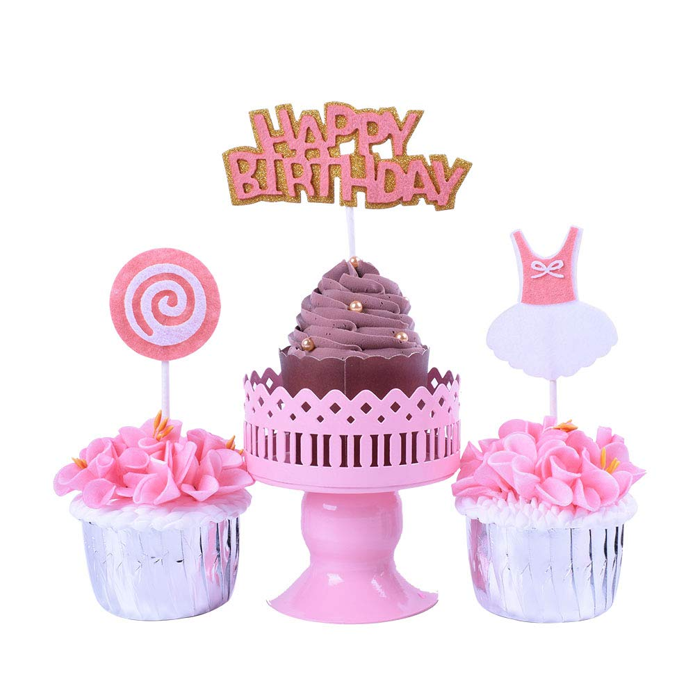 Incredible Yuinyo Pink Lollipop Happy Birthday Cake Topper And Mini Dress Personalised Birthday Cards Veneteletsinfo