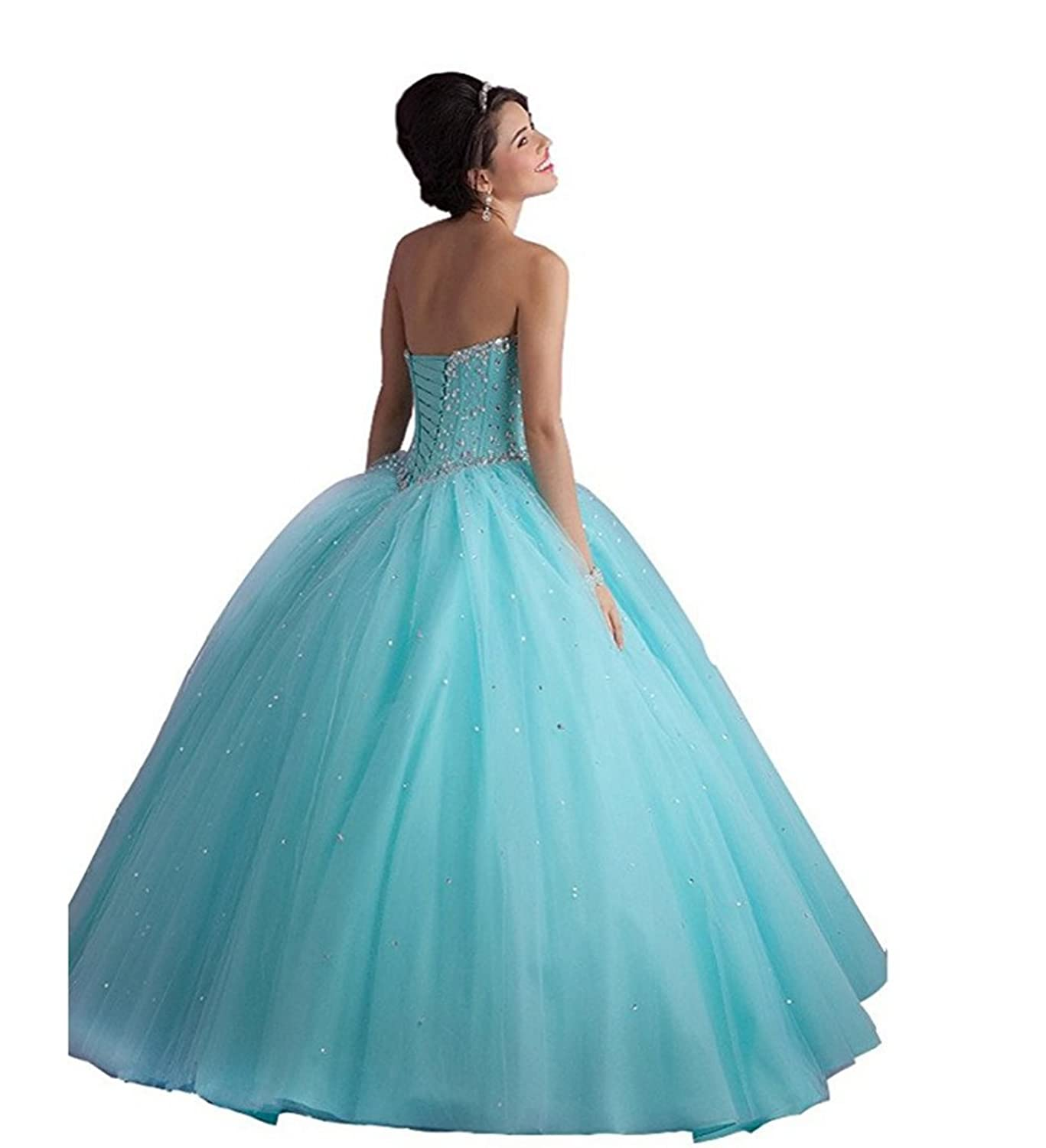 Amazon.com: Chupeng Women\'s Silvery Beaded Ball Gown Quinceanera ...