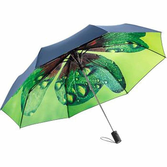 FARE – Mini paraguas de bolsillo original estampado interior diseño naturaleza – ref 5593 Bleu marine