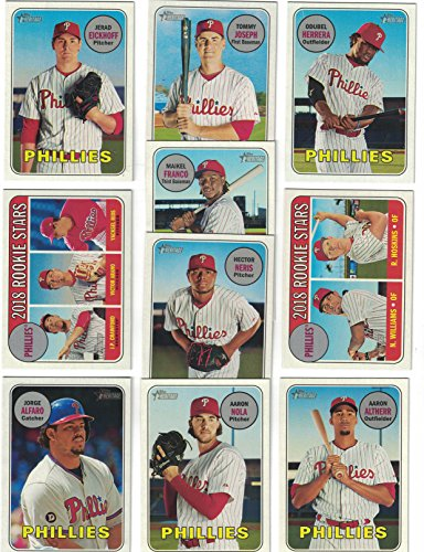 Philadelphia Phillies Trading Card Set - Philadelphia Phillies / Complete 2018 Topps Heritage Baseball 10 Card Team Set! Includes 25 Bonus Phillies Cards!