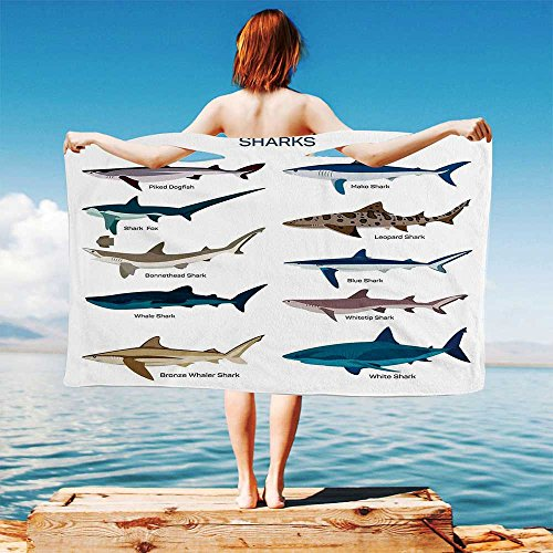 iPrint Sea Animal Decor Quick Dry Plush Microfiber (Towel+Square Scarf+Bath Towel) Collection Types of Sharks Bronze Whaler and Piked Dogfish Fox Maritime Design and Adapt to Any Place - Spy Mc Bronze
