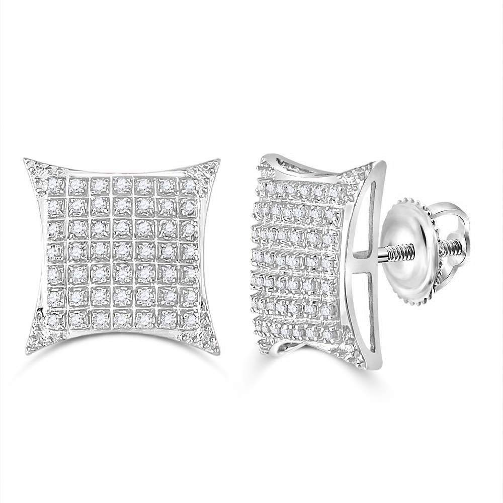 The Diamond Deal 10kt White Gold Mens Round Diamond Square Kite Cluster Stud Earrings 1/3 Cttw