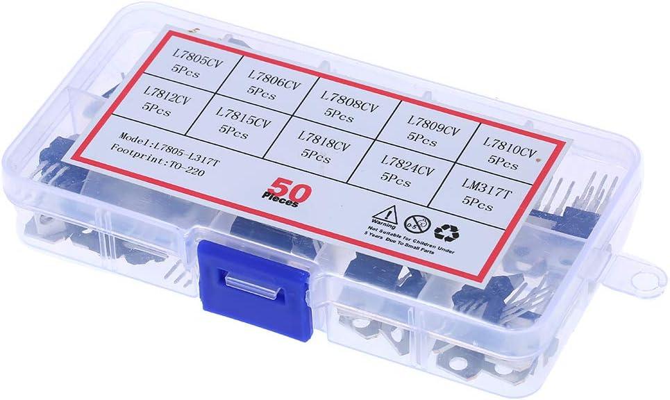 50pcs set 10 tipos L78 Series Surtido de transistores Mosfet Surtido de diodos Surtido Surtido surtido con caja de pl/ástico transparente 10 valores L7805CV-LM317T