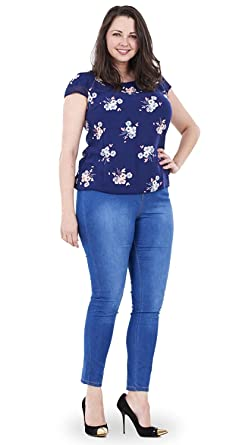 Ladies Ex Evans Skinny Jeans Womens Blue Cotton Super Stretch Jeggings Plus Size