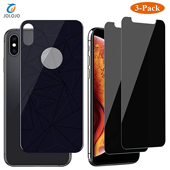 new products cc0b0 f122d JOLOJO iPhone Xs Max Privacy Screen Protector Tempered Glass  [Anti-Spy][Anti-Peep] with Tempered Back Glass [Front and Back] Protection  [Case ...