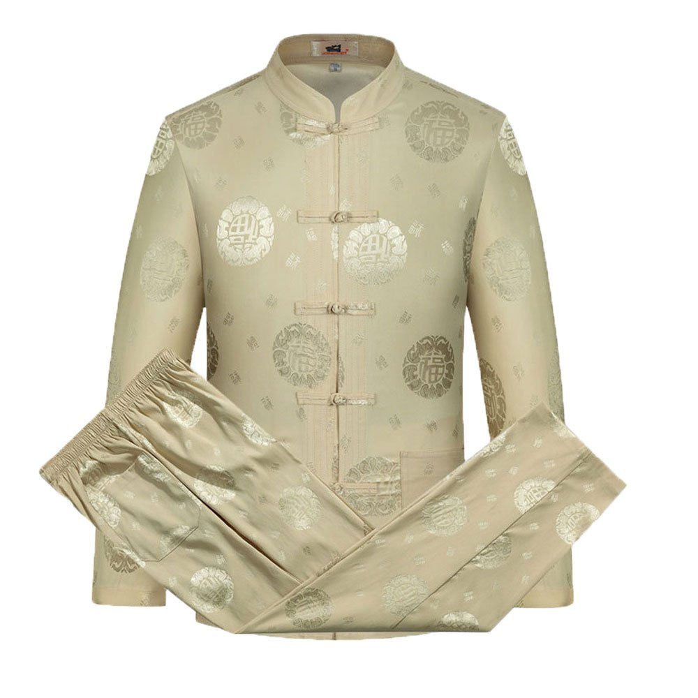 Tang Suit Men Traditional Chinese Clothing Suits Hanfu Cotton Short sleeve shirt coat Mens Tops and pants (XL, Beige)