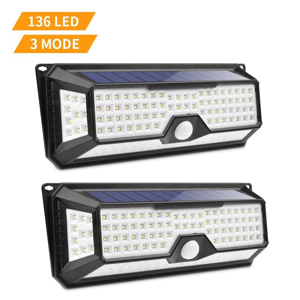 Lámparas Solares de Pared Impermeable, Luces de Seguridad Inalámbricas, con Sensor de Movimiento