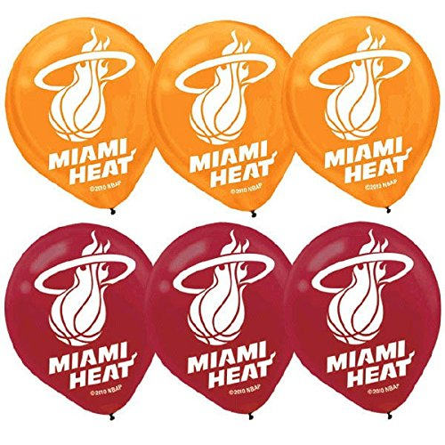 Sports and Tailgating NBA Party Miami Heat Printed Latex Balloons Decoration, Red And Yellow, 12