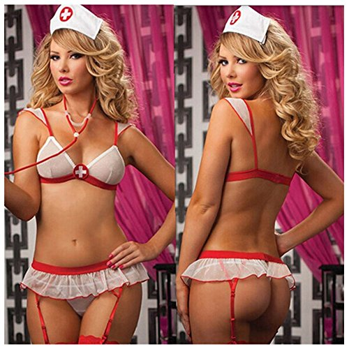 [Lovef Sex Nurse Lingerie Costume Women Sexy Party Night Time cosplay Clothing Set] (Plus Size Nurse Outfit)