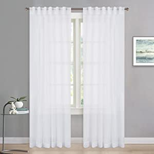 RYB HOME Extra Long White Sheer Curtains, Bleaching Voile Privacy Sheer Window Treatment Drapes for for Christmas Decor Living Room Bedroom Canopy Bed, Width 54 in by Length 95 in, Set of 2
