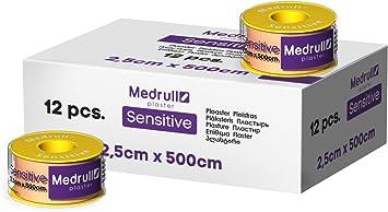 Medrull - 12 rollos de tiritas de fijación SENSITIVE 2,5 cm x 5 m: Amazon.es: Salud y cuidado personal
