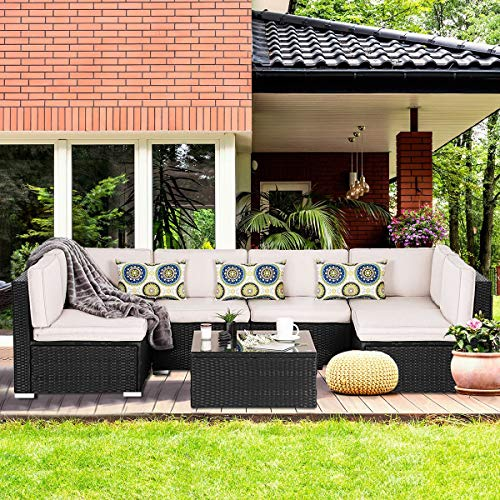 BANFANG 7 Pieces Patio PE Rattan Wicker Sofa Set Outdoor Sectional Furniture Conversation Chair Set with Cushions and Tea Table Black