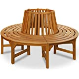 Tree Seat Bench Made of Hardwood Garden Outdoor Round Tree Benches