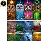 5D Diamond Painting Kit DIY Full Drill Arts Crafts Wall Decor 2 Pack by Yomiie, for Living Room Four Seasons Owl (12x16inch/30x40cm) & Four Seasons Tree (12x16inch/30x40cm)