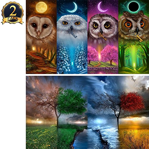 5D Diamond Painting Full Drill by Number Kits for Adults Kids, DIY Rhinestone Pasted Paint Set for Arts Craft Decoration 2 Pack by Yomiie, Four Seasons Owl (12x16inch) & Four Seasons Tree (12x16inch)]()