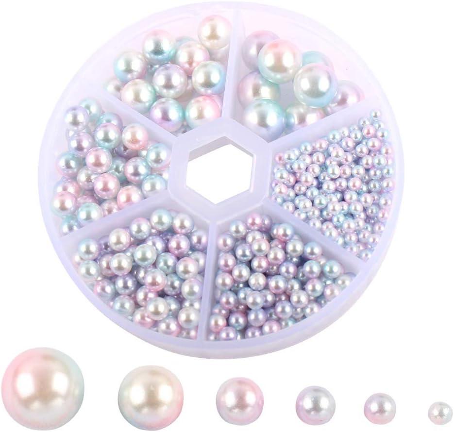 PRETYZOOM 1 Caja de Cuentas de Perlas de Resina Cuentas Espaciadoras Sueltas Redondas para Pulsera Collar Pendiente Joyería Fabricación de Artesanías Suministros Coloridos