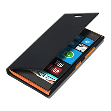 new styles b0a2a cb3f5 kwmobile Flip Case for Nokia Lumia 730/735 - Book Style Protective Front  Flip Cover Smartphone Case - Black