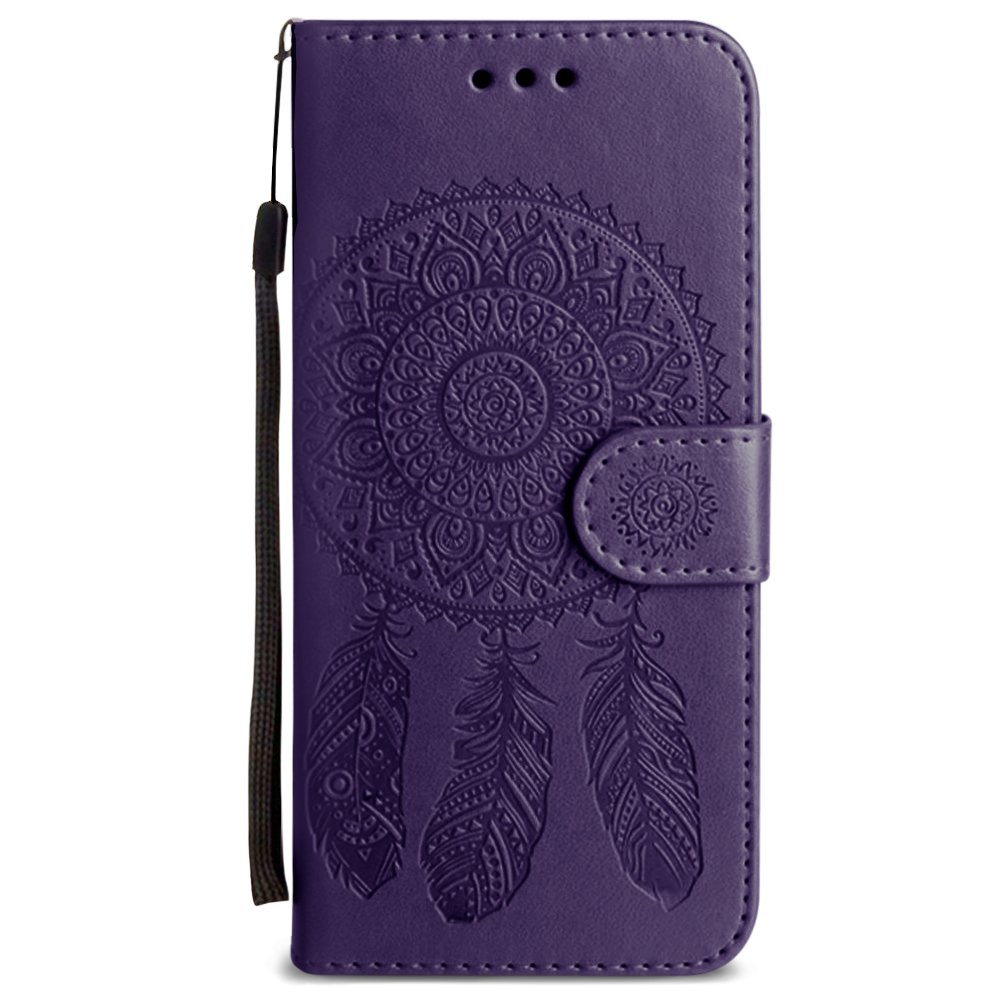 Galaxy S8 Wallet Case, Slim PU Leather Embossed Design with Matching Detachable Flip Cover with Credit Card Holder Wristlet for Women [Dreamcatcher - Purple]