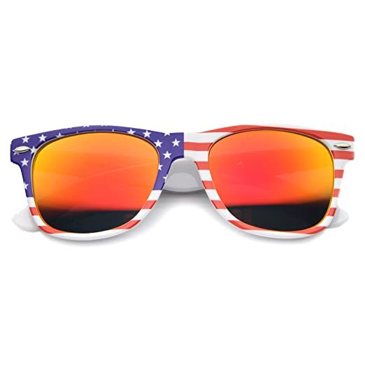 a4e2c6ef773 Patriotic USA Stars and Stripes Mirrored Lens Horn Rimmed Sunglasses 53mm (American  Flag Fire