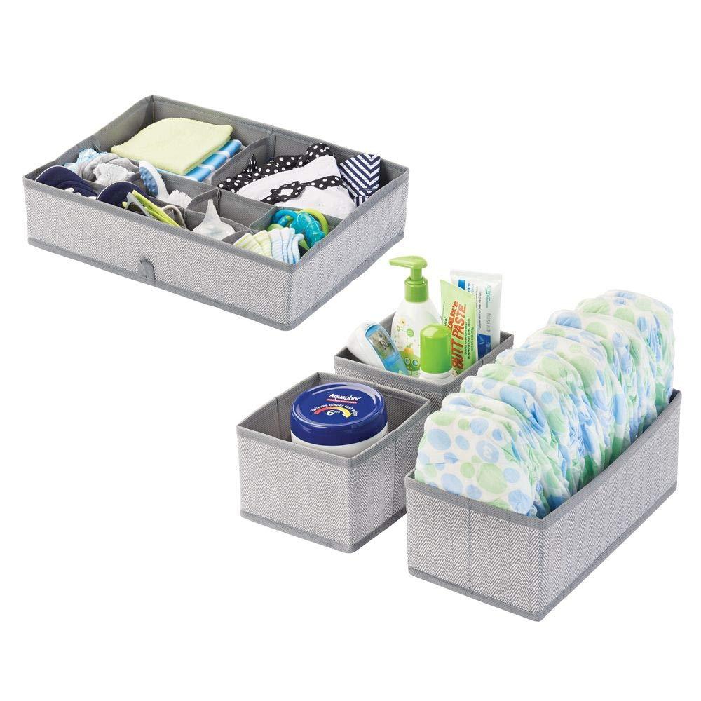 Cestas de tela para accesorios de beb/é Organizadores para armarios de ni/ños o para cajones azul mDesign Juego de 4 cajas organizadoras en polipropileno para habitaciones infantiles