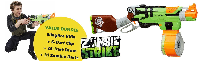 Nerf N-Strike Elite Zombie Strike Slingfire + Drum & Darts Value-Bundle: Amazon.es: Juguetes y juegos