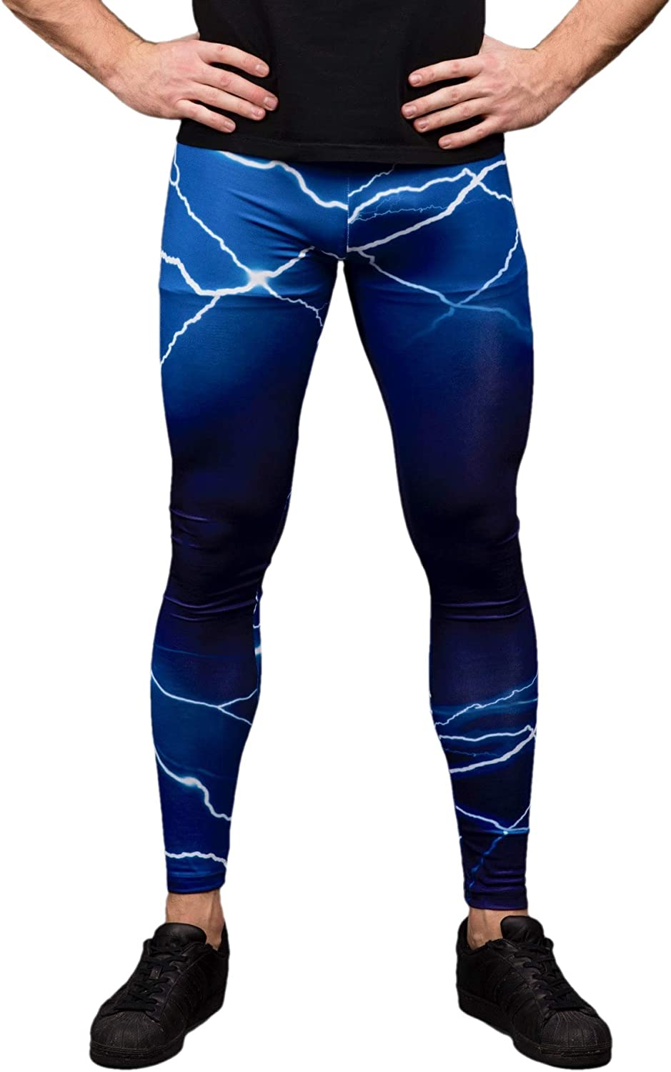 Kapow Men's Leggings - Compression Tights Yoga Base Layer Lightweight Spandex Colorful Printed Festival Meggings Lounge Pants