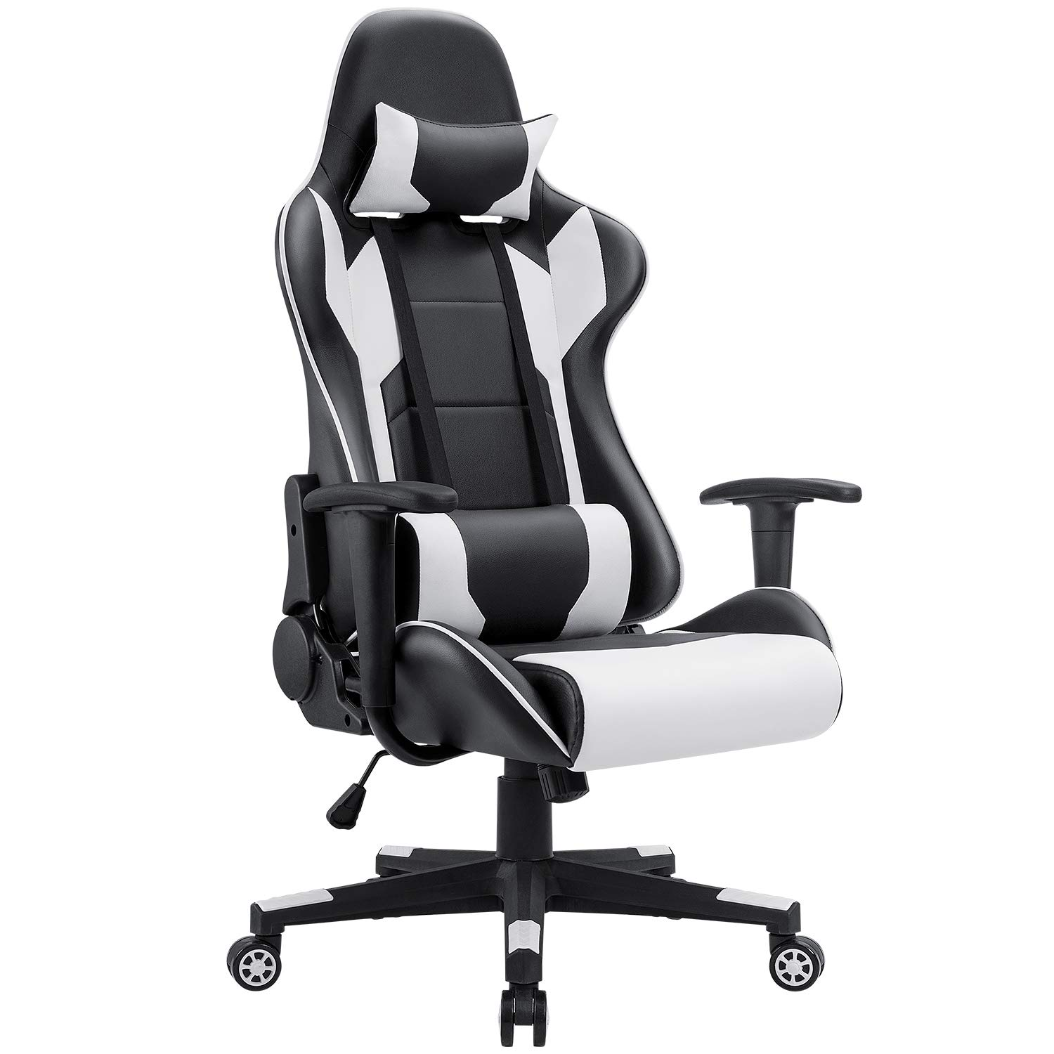 Homall Gaming Chair Racing Style High-Back PU Leather Office Chair Computer Desk Chair Executive and Ergonomic Style Swivel Chair with Headrest and Lumbar Support (White) by Homall