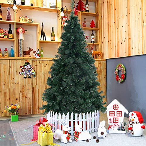 Goplus Artificial Christmas Tree Xmas Pine Tree with Solid Metal Legs Perfect for Indoor and Outdoor Holiday Decoration (5 Feet, Green)