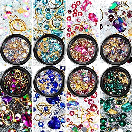 - Nail Art Rhinestones Flatback Diamonds Crystals Beads Gems Mixed Colorful for Nail Art Decorations DIY Design (Set 1, 8 Boxes)