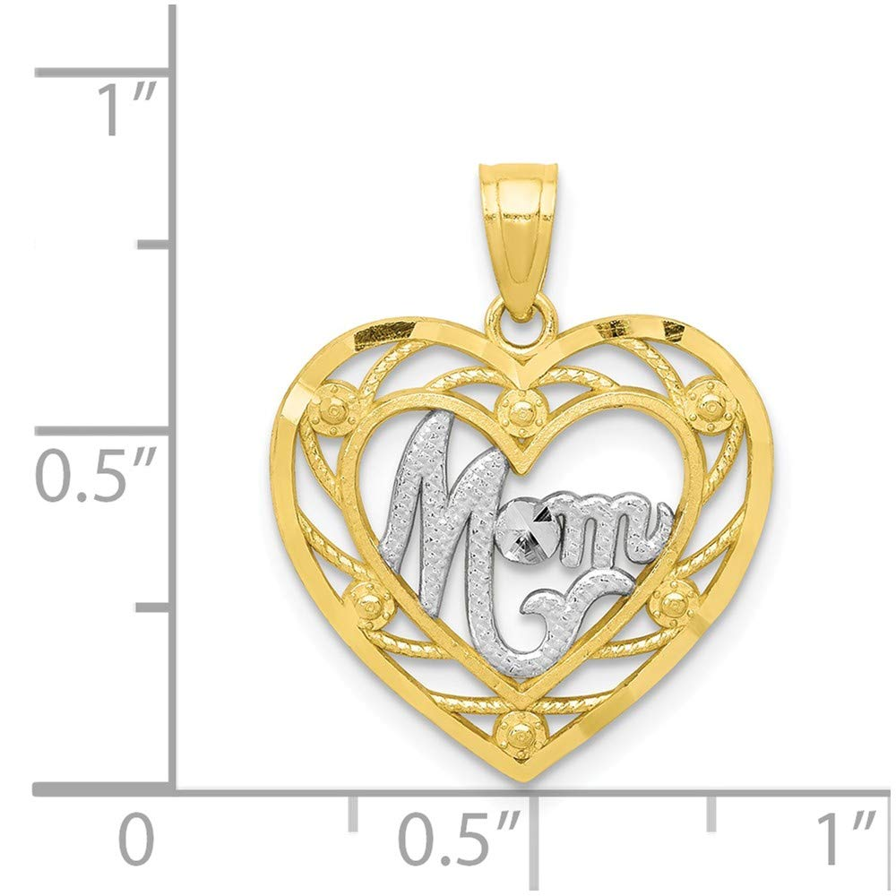 10k Yellow with White Rhodium Two-tone Gold Mom Heart Charm