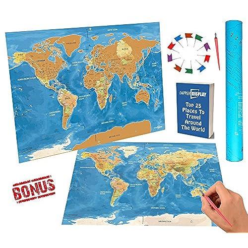Best scratch off world travel map tracker usa states interactive best scratch off world travel map tracker usa states interactive country bonus 30 pcs flags gumiabroncs Images