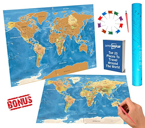"""SCRATCH OFF World Travel Map Tracker & USA States Interactive Country BONUS 30 PCS Flags Pins and Scratcher Pen Tool Blue Poster 32 x 22.5"""" Large Scratchable Personalized Places Gift Packaging Edition"""