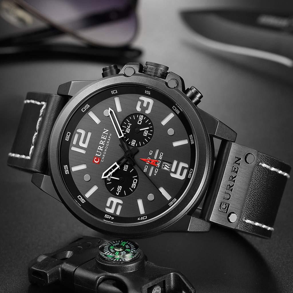 LUXISDE Men's Watches Wrist Watch Mens Watches Sport Waterproof Calendar Leather Chronograph Quartz Watch 10 by LUXISDE (Image #3)