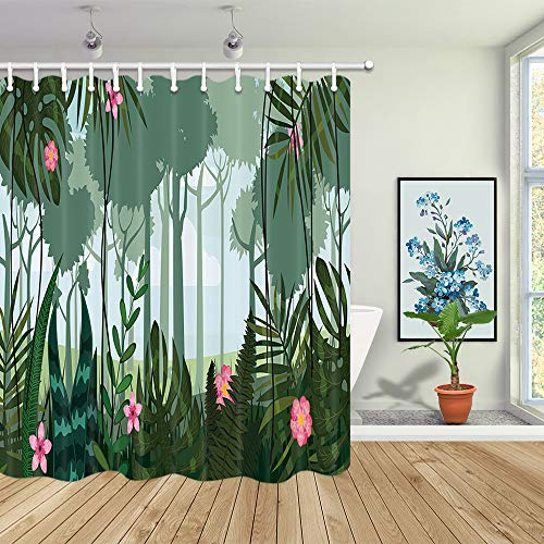 Forest Floral Shower Curtain, Tropical Rainforest Palm Leaves and Jungle Trees Succulent Plants Flowers Shower Curtain, Fabric Bath Curtains for Bathroom Accessories with 12PCS Hooks, 69X70 in Green
