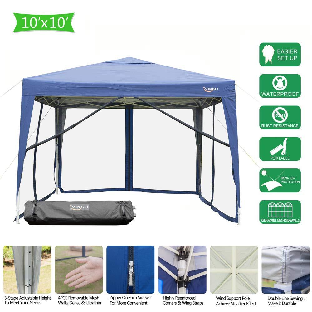 VINGLI POP UP Mesh Sidewalls Anti-Mosquito EZ Tent Removable, 99% Anti-UV, Screen House Canopy (10'x10' w/ 4 Sidewalls | Blue)