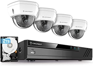Amcrest 4K 8CH Security Camera System w/ 4K (8MP) NVR, (4) x 4K (8-Megapixel) IP67 Weatherproof Metal Dome POE IP Cameras (3840x2160),Pre-Installed 2TB Hard Drive, NV4108E-HS-IP8M-2493EW4-2TB (White)