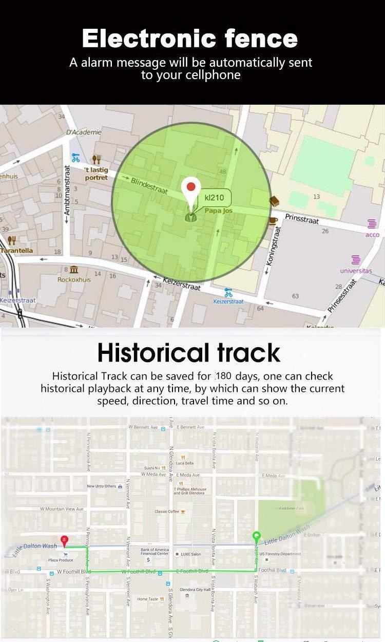 Mini GPS Tracker TK08 Mini GPS Hangang Tracking de Tiempo Real cortafr/ío de posici/ón localizador GPS Geo-Fence Alarm App Gratuita SOS Funci/ón Voz de Dos v/ías para Mascotas Perro Gato ni/ños tk08