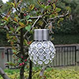Yocitoy Hanging Solar Lights Outdoor Decorations Home Decor Globe Light Ornaments Decorative Garden Lamp Pure White LED Crackle Glass Globes for Yard Patio Tree Party 1PC Colorful