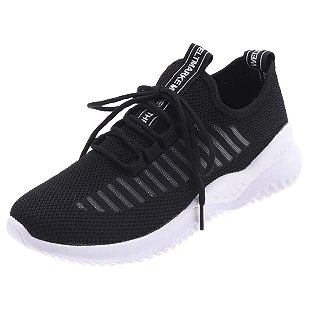 Dermanony Women's Comfortable Sneakers Casual Flying Weaving Socks Shoes Athletic Shoes Student Running Flats Shoes Black by Dermanony _Shoes