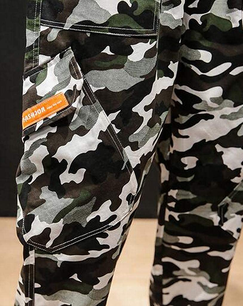 Fubotevic Men Camo Casual Plus Size Drawstring Loose Fit Hip Hop Jogger Pants