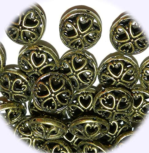 New Antiqued Bronze 17mm Open Heart Filigree Design Flat Round Jewelry-Making Beads 48pc DIY Craft Supplies for Handmade Bracelet Necklace